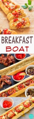 Breakfast Boat with Cheese, Bacon & Tomatoes - Easy peasy and fun way to prepare your breakfast or brunch! | happyfoodstube.com