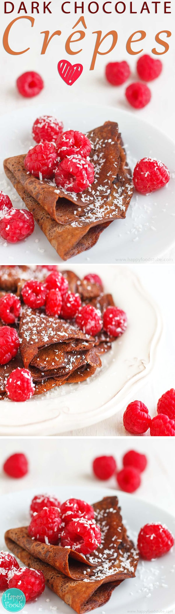 Dark Chocolate Crepes with Raspberries & Coconut - Super delicious crepes / pancakes recipe for chocolate lovers. Healthy ingredients, pancake tuesday, pancake day, vegetarian | happyfoodstube.com