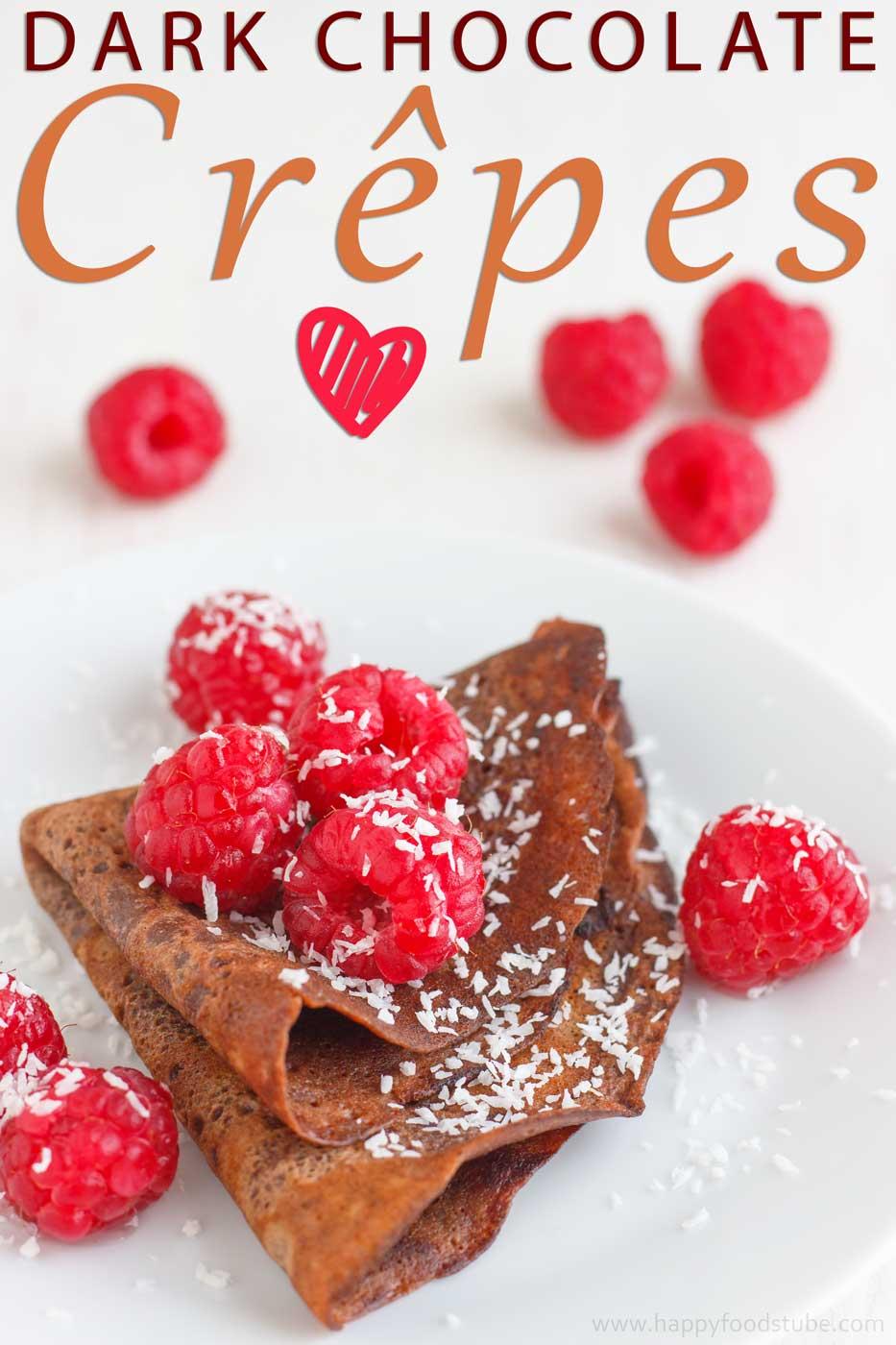 Dark Chocolate Crepes with Raspberries