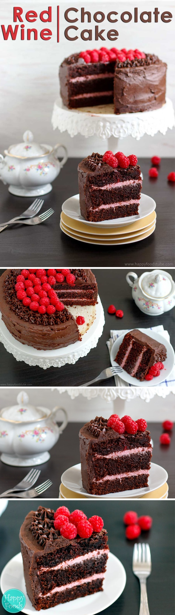Luxurious Red Wine Chocolate Raspberry Cake is so delicious you won't be able to resist another slice. Best ever birthday cake recipe. Family favorite chocolate #cake recipe