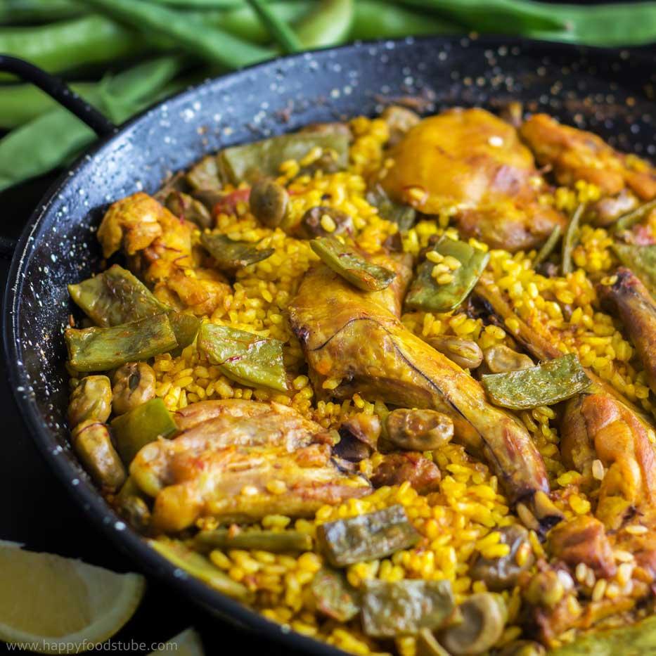 Paella Valenciana Recipe - HappyFoods Tube