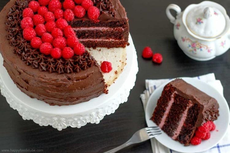 Red Wine Chocolate Raspberry Cake Slice