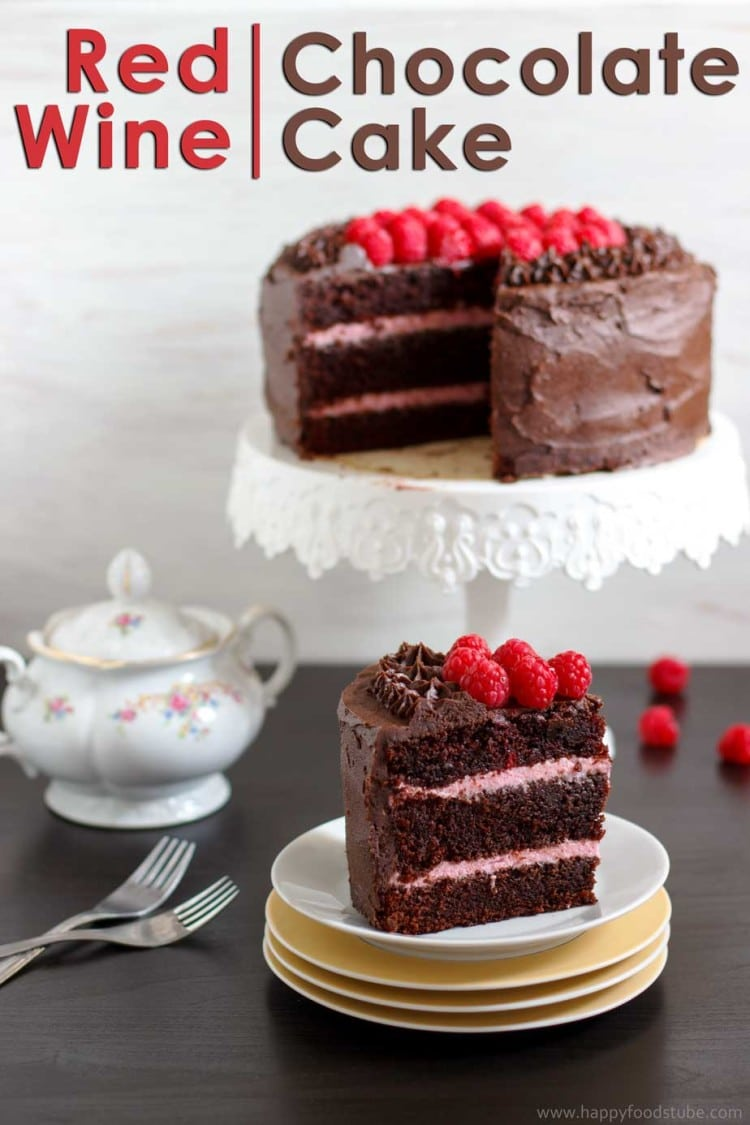 Red Wine Chocolate Raspberry Cake {Video} - Happy Foods Tube