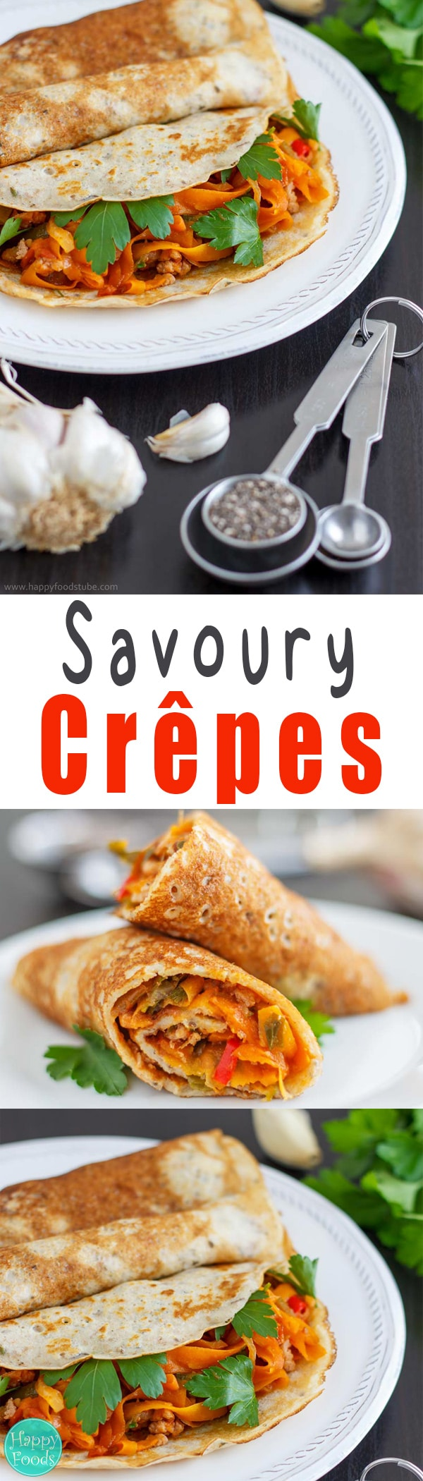 Savory Crepes with Chia Seeds and Garlic - Super tasty crepes / pancake recipe, no sweet, healthy ingredients, pancake tuesday, vegetarian | happyfoodstube.com