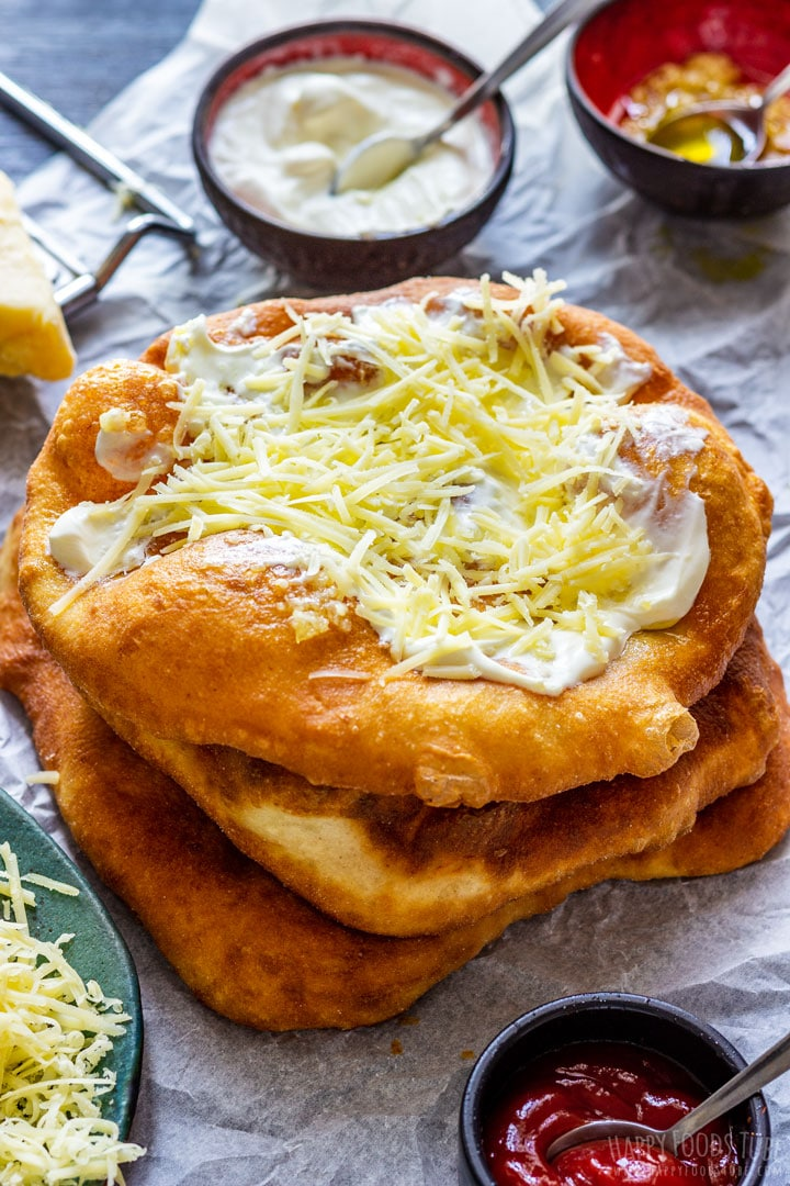 Dee fried langos with sour cream and cheese