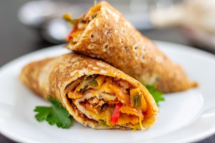 Close-up savory filled crepes