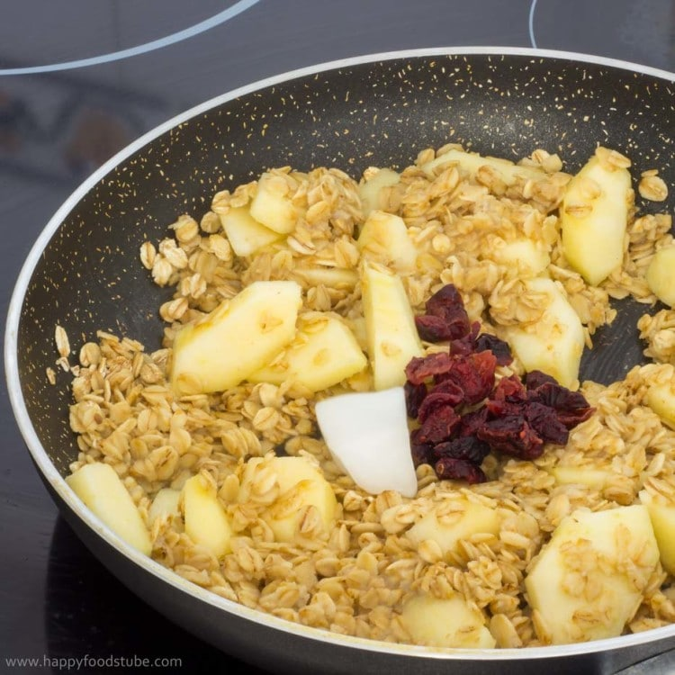 Apple and Cranberry Cooking on Pan