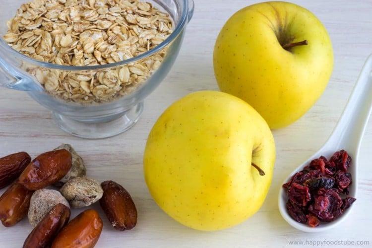 Apple and Cranberry Porridge Ingredients