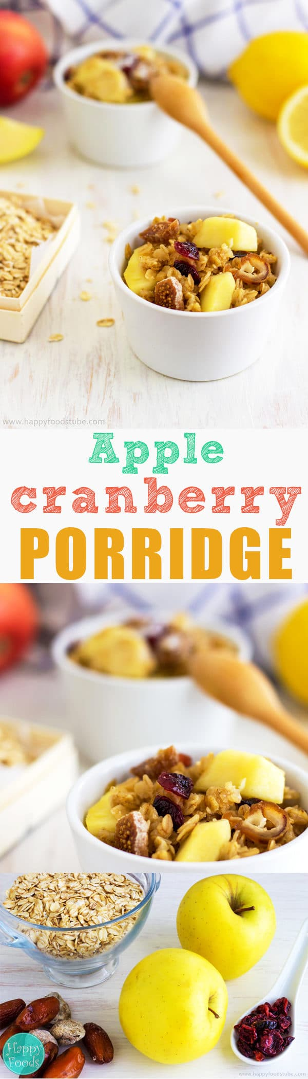 Apple & Cranberry Porridge - Start your day with a bowl of this mouth-watering porridge. It's quick, filling and more importantly it's healthy! | happyfoodstube.com