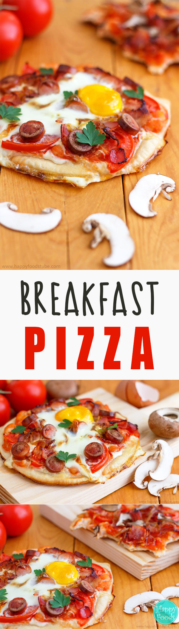 Breakfast Pizza Recipe - Breakfast pizza with bacon, mushrooms, beans and eggs is the way to start your day! All your favorite things on a pizza crust! It's hard to resist this deliciousness! ♡ | happyfoodstube.com
