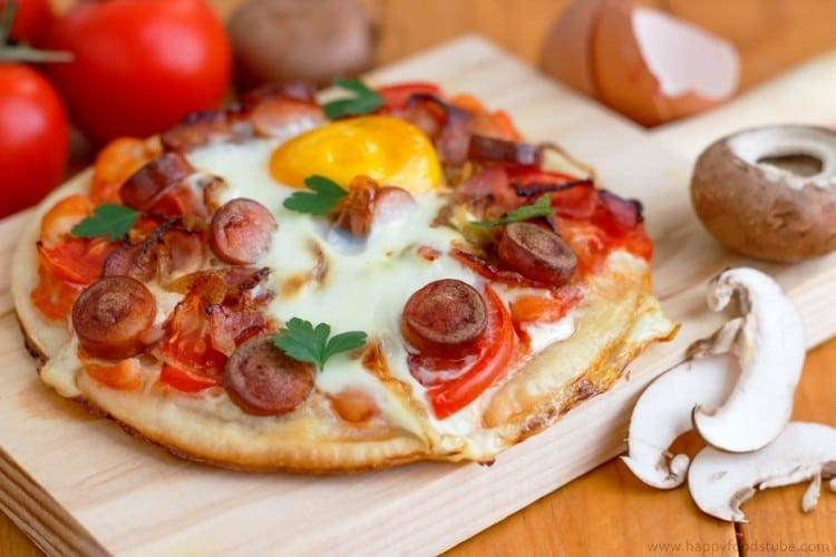Homemade Breakfast Pizza Wooden Board