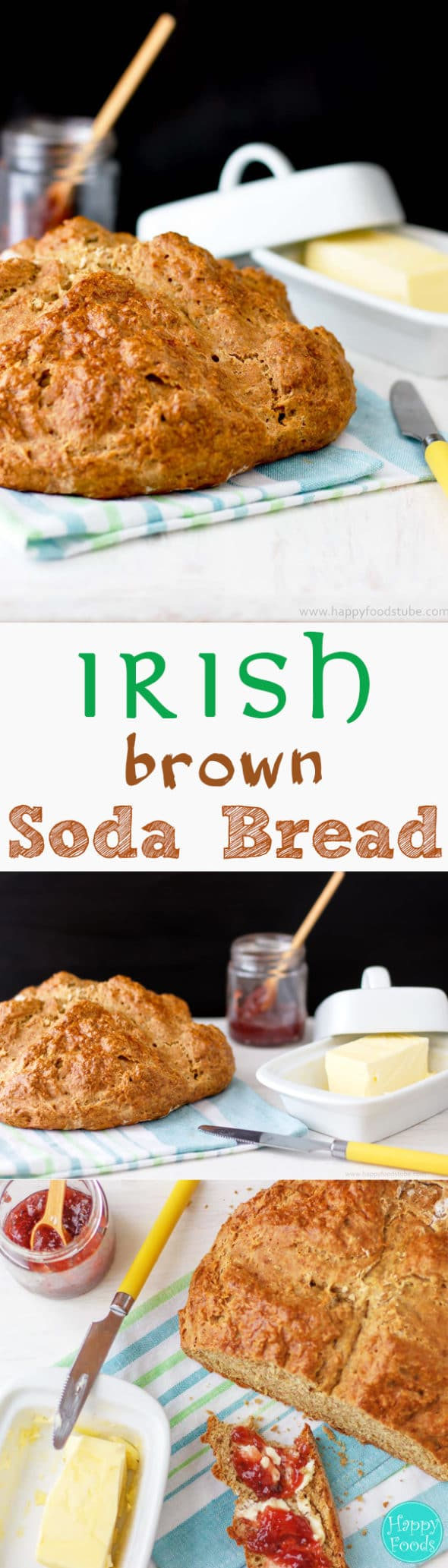 Irish Brown Soda Bread is the traditional Irish bread recipe. Flour, baking soda and salt are mixed with buttermilk and formed into a loaf. Yeast-free dough, 5-minute preparation & no kneading skills required make it a perfect bread for beginner bakers or busy families. #irish #sodabread #brownbread #bread #recipe #traditional #baking #makingbread #fromscratch #howtomake