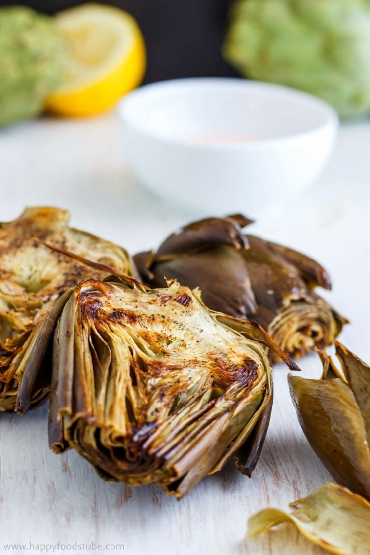 Oven Roasted Artichokes with Garlic Sauce