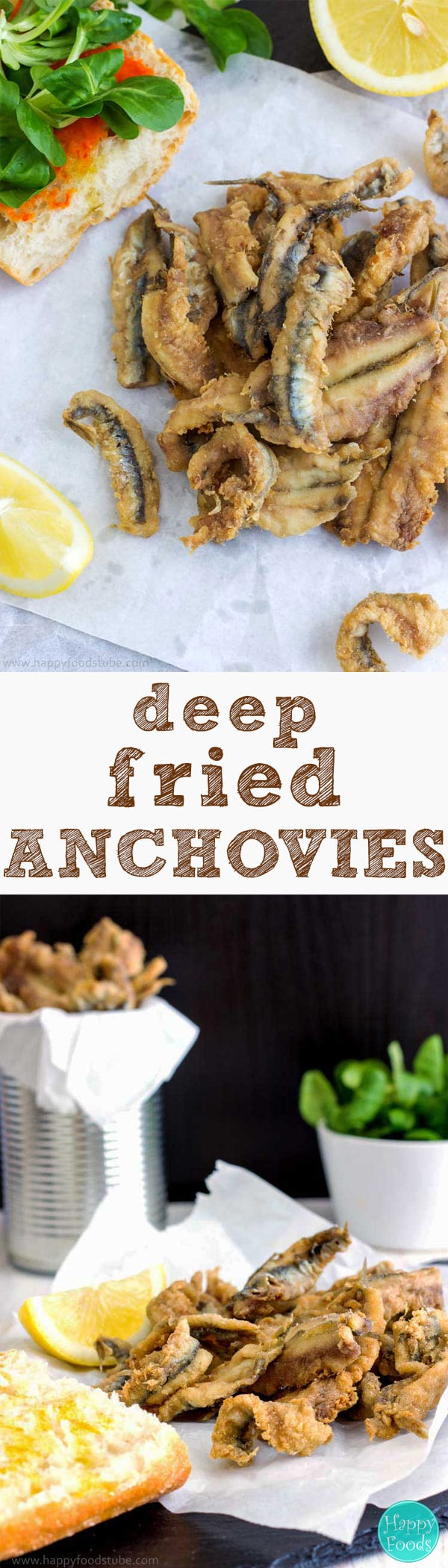 Deep Fried Anchovies are typical and most popular Spanish tapas. Fried Anchovies are excellent starter and drizzled with lemon juice they are hard to resist