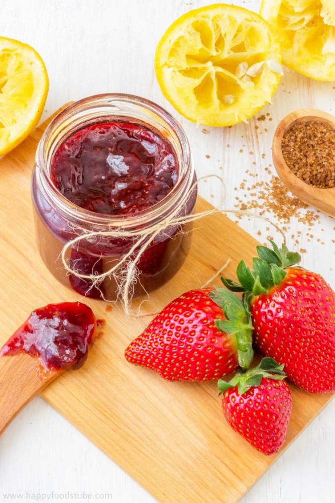 Homemade Strawberry Jam - - No artificial preservatives, fresh, healthy, pectin free, easy, recipe, home cooking   happyfoodstube.com