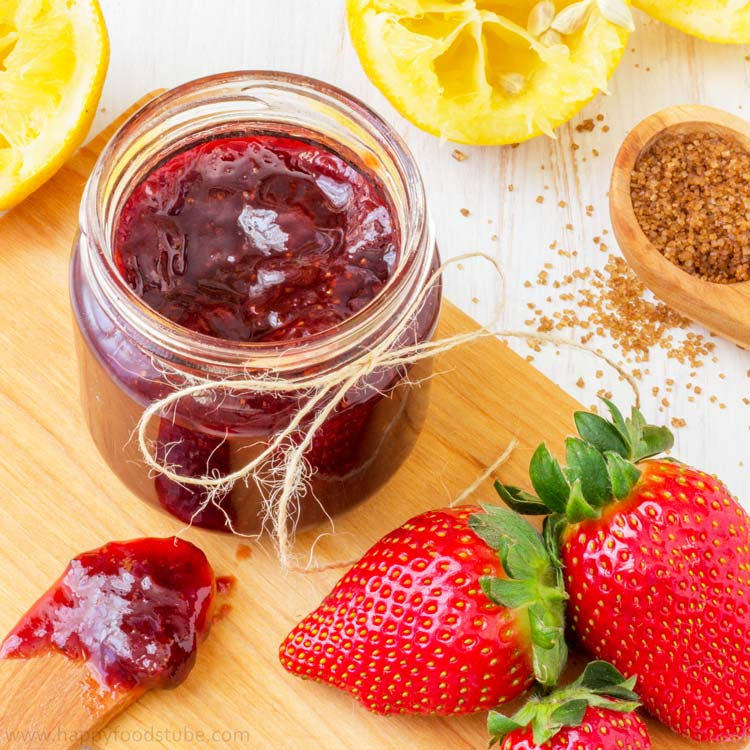 Homemade Strawberry Jam - No artificial preservatives, fresh, healthy, pectin free, easy, recipe, home cooking | happyfoodstube.com