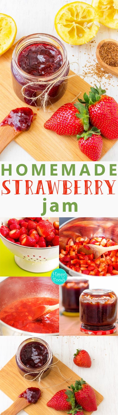Homemade Strawberry Jam Pinterest - No artificial preservatives, fresh, healthy, pectin free, easy, recipe, home cooking | happyfoodstube.com