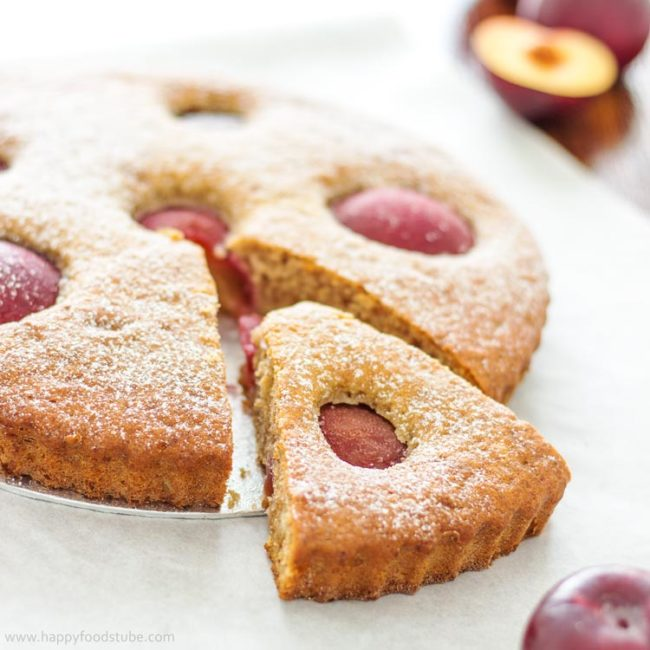 Plum Tart with Ricotta Cheese & Greek Yogurt - easy and light homemade tart recipe, right sweet treat for your afternoon cuppa! | happyfoodstube.com