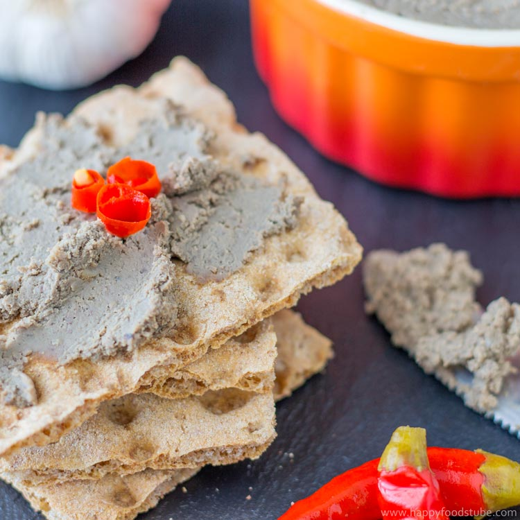 Pork Liver Pate with Porcini Mushrooms & Red Wine - homemade pate recipe, home cooking, how to make pate, liver pate, pâté, appetizer, tasty, spread   happyfoodstube.com