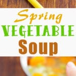 5-Ingredient Spring Vegetables Soup - quick & easy soup recipe, healthy, light, vegetarian. Carrots, celery, potatoes, peas & onion are the main ingredients here!   happyfoodstube.com