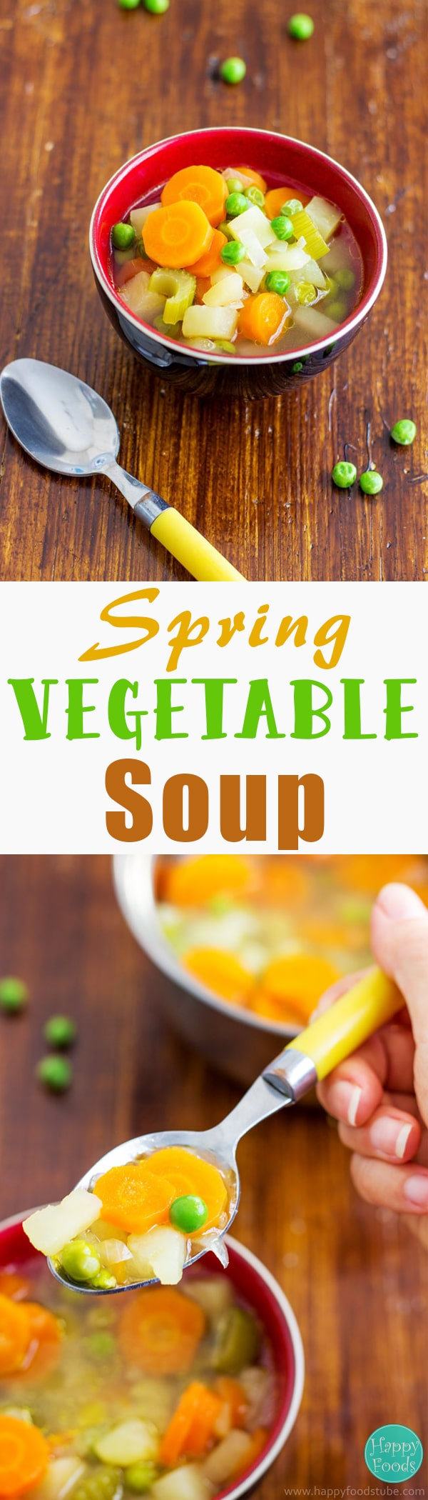 5-Ingredient Spring Vegetables Soup - quick & easy soup recipe, healthy, light, vegetarian. Carrots, celery, potatoes, peas & onion are the main ingredients here