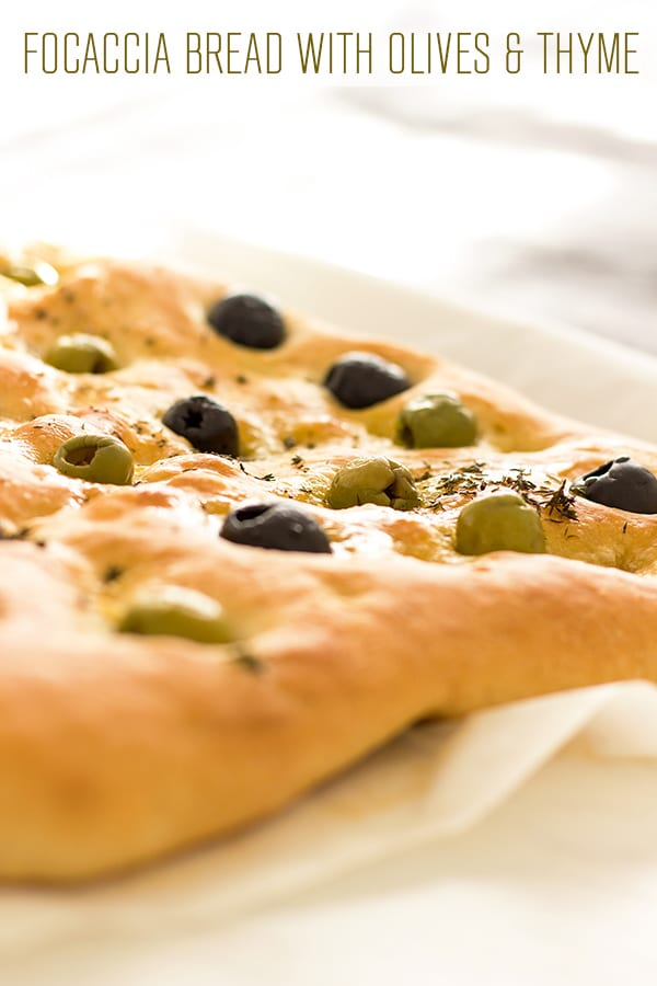 Freshly baked focaccia with green and black olives