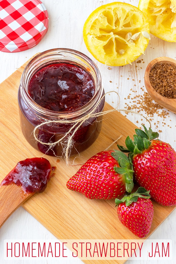 Homemade Strawberry Jam with brown sugar and no artificial preservatives. Grandmas strawberry jam recipe what everyone will love. Pectin free recipe. #happyfoodstube #strawberry #jam #recipe #brownsugar #pectinfree #strawberryjam #preserving #canning #makingjam