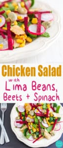 Chicken Salad with Lima Beans, Beets & Spinach - Easy recipe loaded with healthy ingredients. Appetizer packed with vitamins, fibre, minerals, antioxidants and protein ♡ | happyfoodstube.com