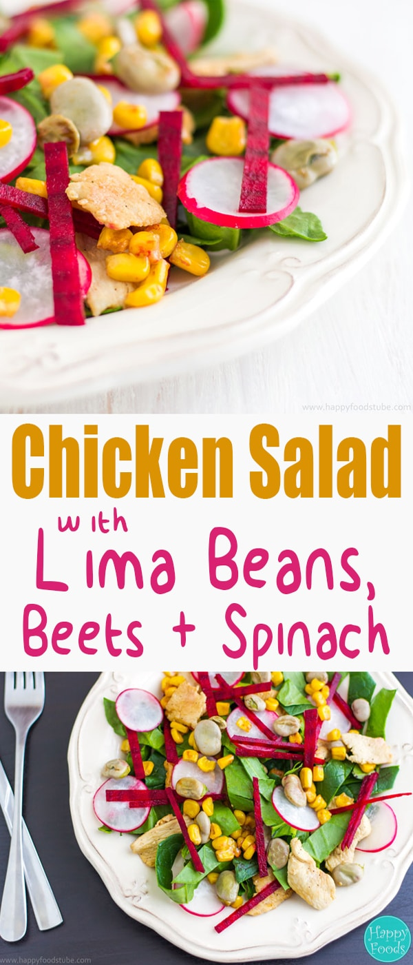 Chicken Salad with Lima Beans, Beets & Spinach - Easy recipe loaded with healthy ingredients. Appetizer packed with vitamins, fiber, minerals, antioxidants and protein
