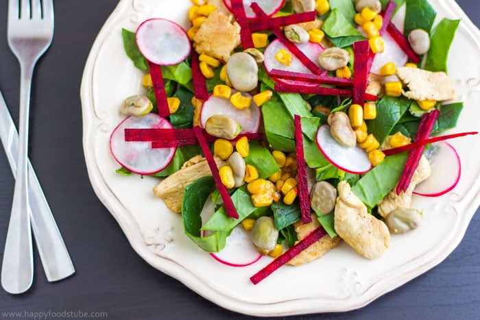 Chicken Salad with Lima Beans, Beets & Spinach - Easy recipe ♡ | happyfoodstube.com