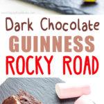 Dark Chocolate Guinness Rocky Road - Super easy no-bake dessert recipe, add your favorite ingredients like marshmallows, almonds, nuts, pistachios, cranberries. Best fridge cake idea! ♡ | happyfoodstube.com