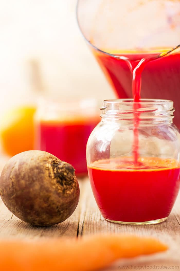 Immune Booster Beet, Carrot & Orange Juice - Fresh fruit and vegetable juices are perfect for boosting your body with nutrients! Detox your liver and help you to stay healthy! Best cleanse juice recipe. | happyfoodstube.com