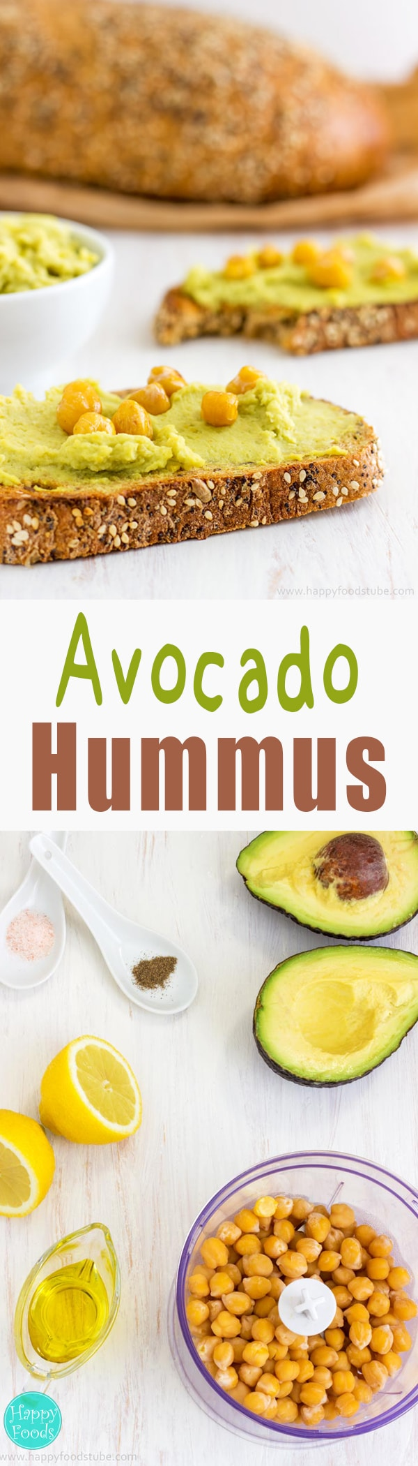 Super Healthy Creamy Avocado Hummus - Quick and easy recipe. Only 4-ingredients - avocado, chickpeas (garbanzo beans), lemon, extra virgin olive oil. Vegan / Vegetarian   happyfoodstube.com