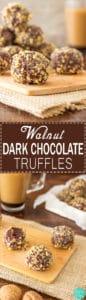 Walnut Dark Chocolate Truffles - Super easy no bake dessert recipe! Best sweet treats. Only 5 ingredients - Dark Chocolate, Caramel (Dulce de Leche), Walnuts, Butter and Dried Fruit!   happyfoodstube.com