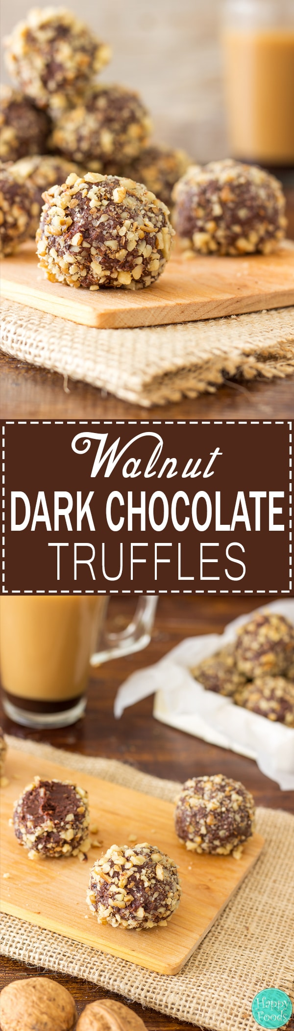 Walnut Dark Chocolate Truffles - Super easy no bake dessert recipe! Best sweet treats. Only 5 ingredients - Dark Chocolate, Caramel (Dulce de Leche), Walnuts, Butter and Dried Fruit