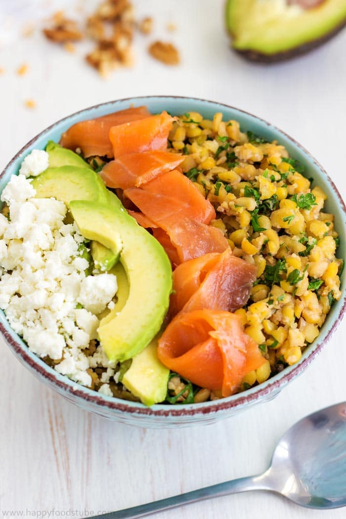 Butter Roasted Split Pea Power Bowl | happyfoodstube.com