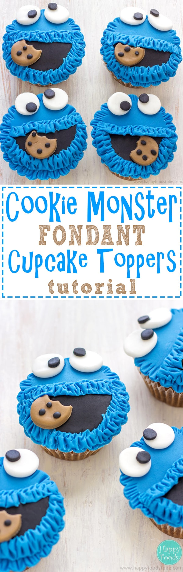 These Cookie Monster Fondant Cupcake Toppers are easy to make and are perfect for any Sesame Street party or Cookie Monster lovers! Cupcake / Cake decorating tutorial. | happyfoodstube.com