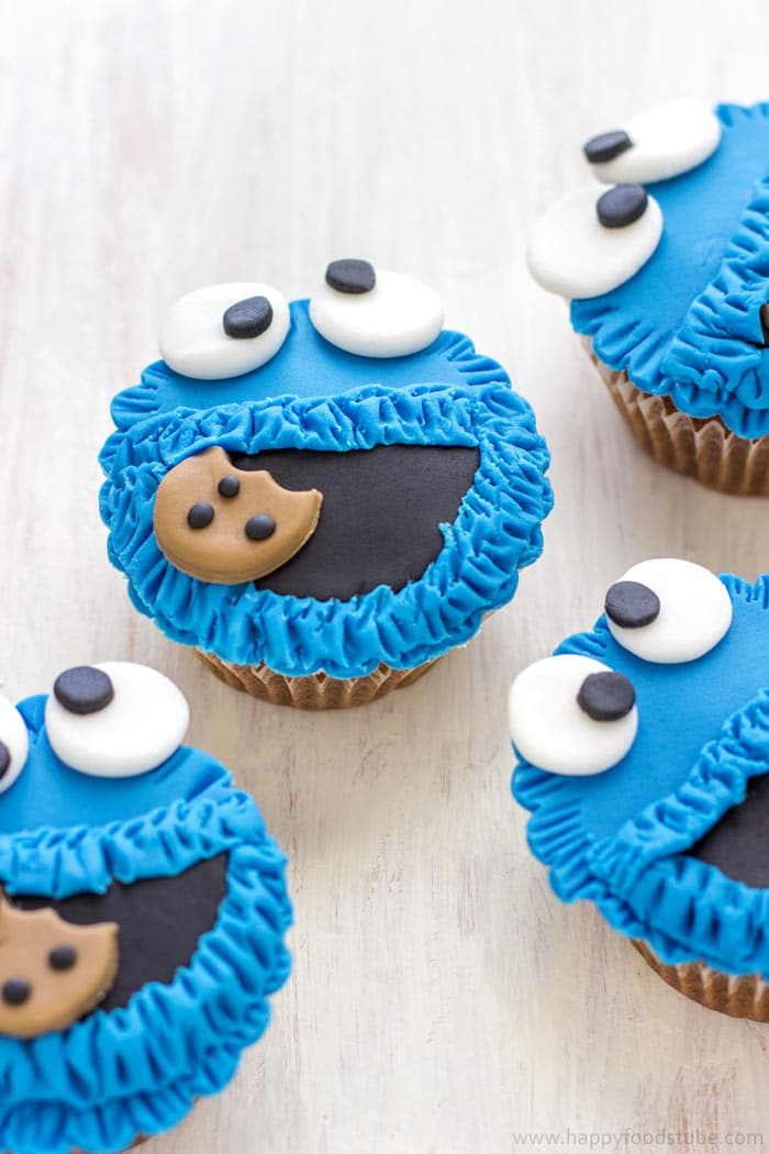 Cookie Monster Fondant Cupcake Toppers (Video ...