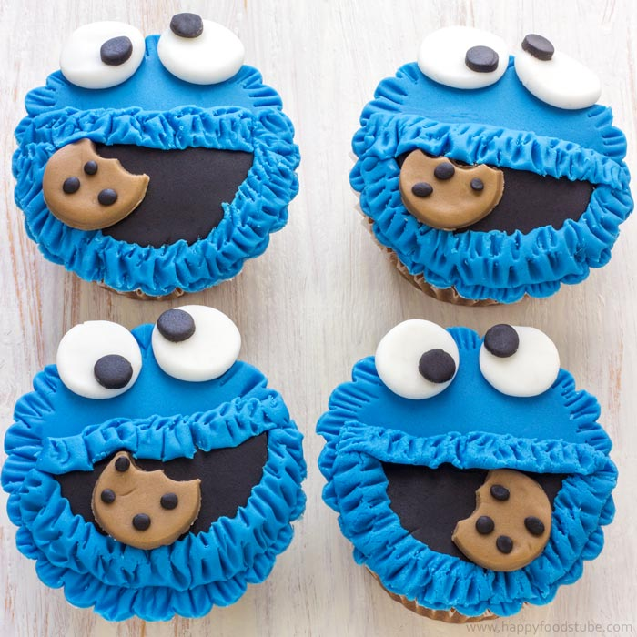 These Cookie Monster Fondant Cupcake Toppers are easy to make and are perfect for any Sesame Street party or Cookie Monster lovers! | happyfoodstube.com