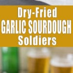 Dry-Fried Garlic Sourdough Soldiers (Küüslauguleivad) - An incredible snack recipe that goes hand in hand with beer. Crispy stripes of sourdough bread dry-fried and coated in olive oil + garlic.   happyfoodstube.com