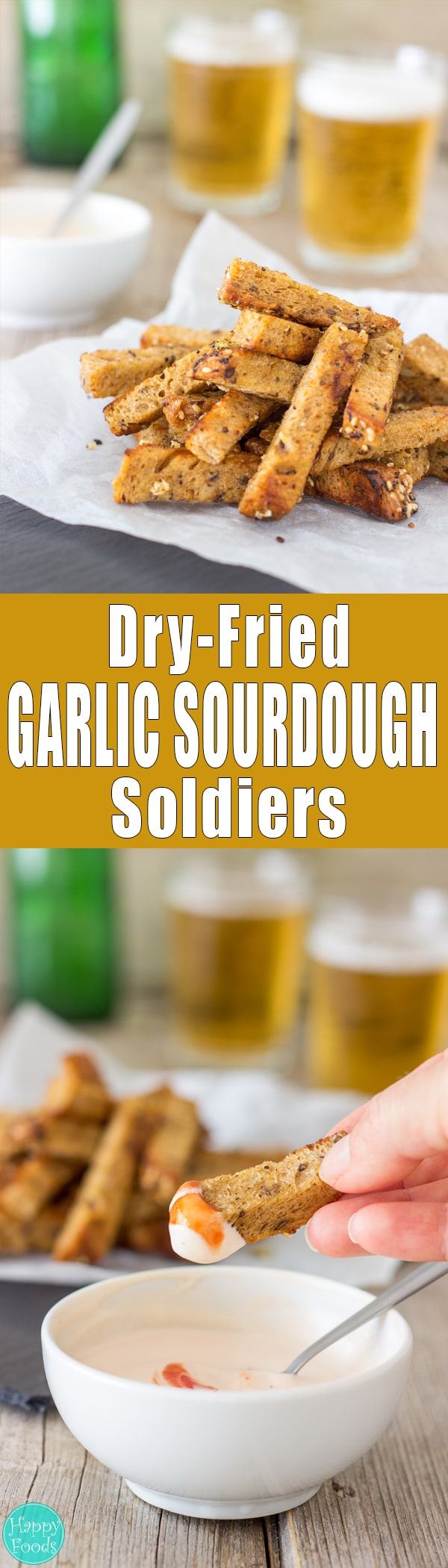 Dry-Fried Garlic Sourdough Soldiers (Küüslauguleivad) - An incredible snack recipe that goes hand in hand with beer. Crispy stripes of sourdough bread dry-fried and coated in olive oil + garlic. | happyfoodstube.com