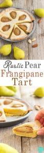 Rustic Pear Frangipane Tart - Homemade fresh pear and almond tart recipe. You will love this easy to follow dessert. ♥ | happyfoodstube.com