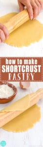 How to make Shortcrust Pastry - Super easy recipe for Shortcrust Pastry! This pastry is great for making tarts, pies, galettes or biscuits. It can be prepared ahead & stored in the fridge. | happyfoodstube.com