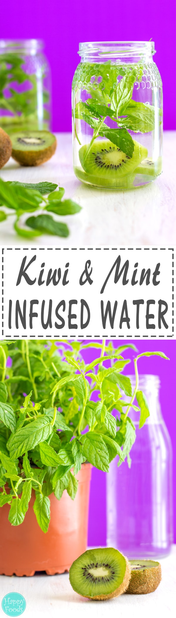 Kiwi and Mint Infused Water Recipe + 5 Tips for perfect Infused Water - Perfect for hydrating on hot summer days! Naturally flavored drink ❤ | happyfoodstube.com
