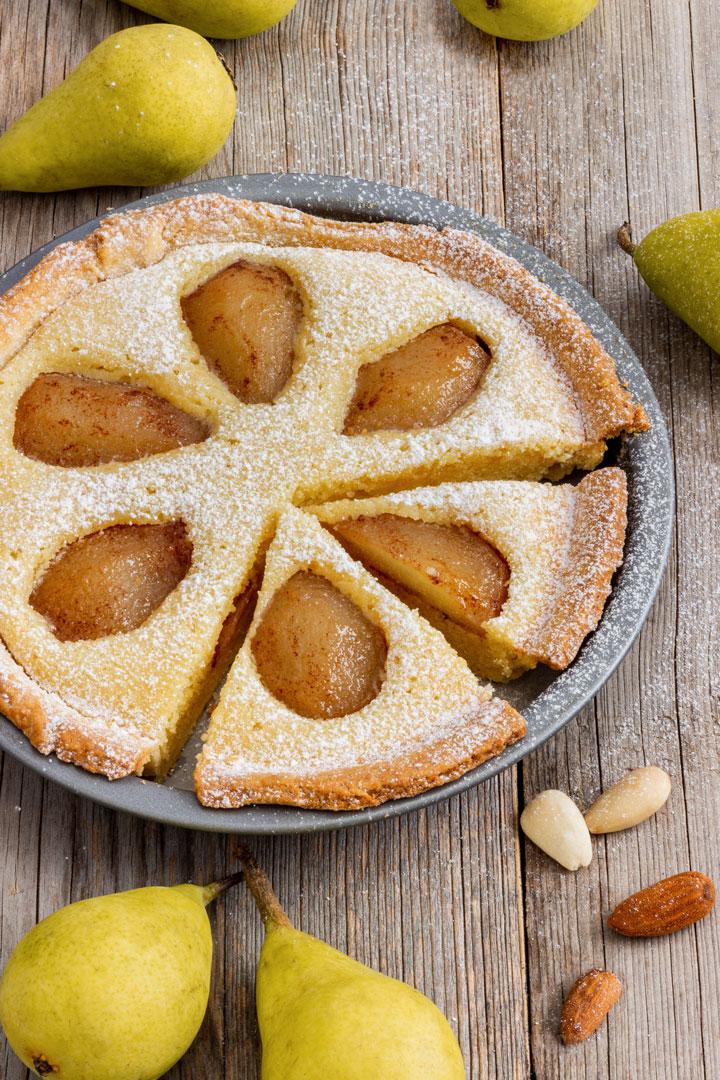 Homemade pear frangipane tart