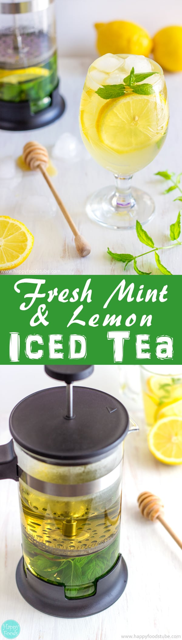 Fresh Mint and Lemon Iced Tea is a great summer drink! It's refreshing! It's healthy! It's low in calories! Non-Alcoholic recipe | happyfoodstube.com