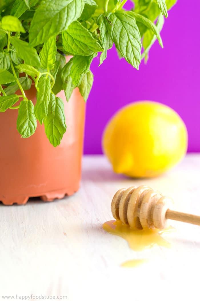 Fresh Mint & Lemon Iced Tea with Honey   happyfoodstube.com