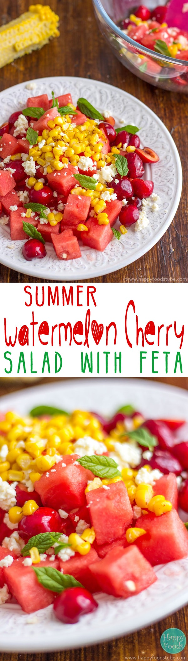 This summer watermelon cherry salad with Feta is great for picnics, summer parties, barbecue or lunch. It's refreshing, light and most importantly delicious recipe. Ready in 15 minutes