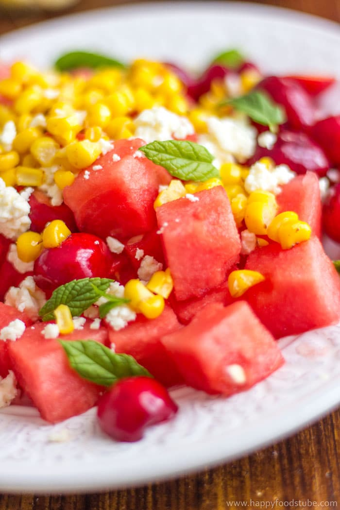 Watermelon and Cherry Salad with Feta Recipe. Ready in 15 minutes! | happyfoodstube.com
