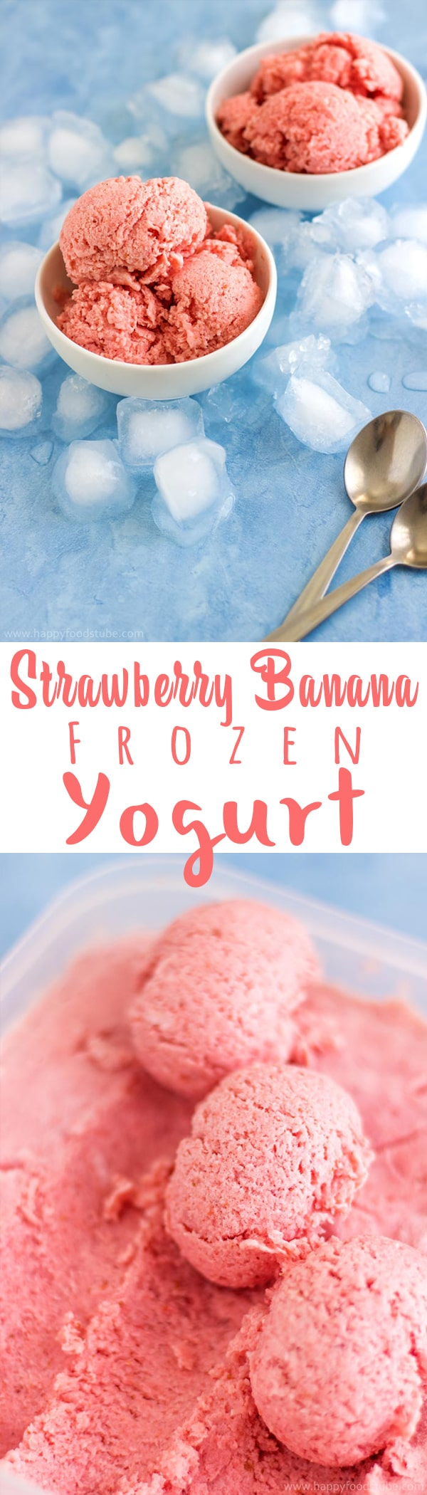Strawberry Banana Frozen Yogurt is a healthy alternative to ice cream! You need only 3 ingredients to make this frozen dessert recipe! | happyfoodstube.com